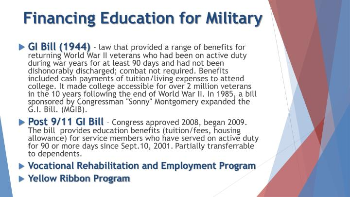 Financing Education for Military