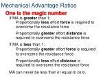 mechanical advantage ratios