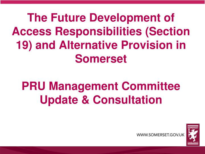 The Future Development of Access Responsibilities (Section 19) and Alternative Provision in Somerset