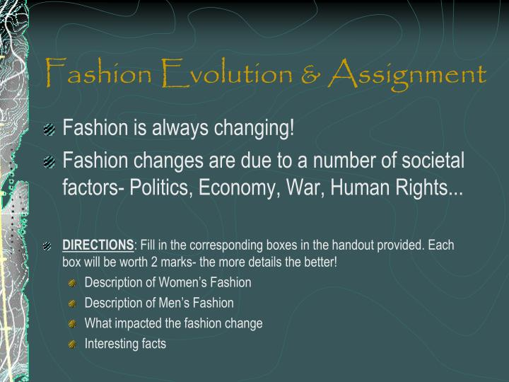 Fashion evolution assignment