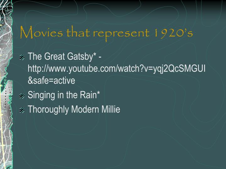Movies that represent 1920's