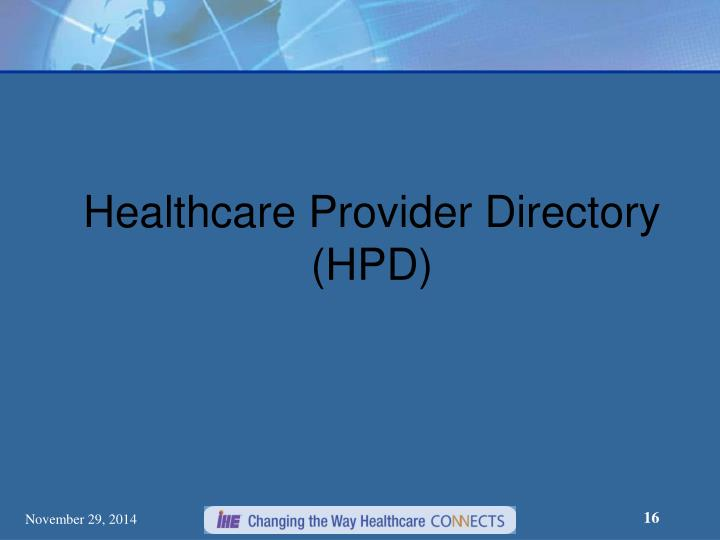 Healthcare Provider Directory (HPD)