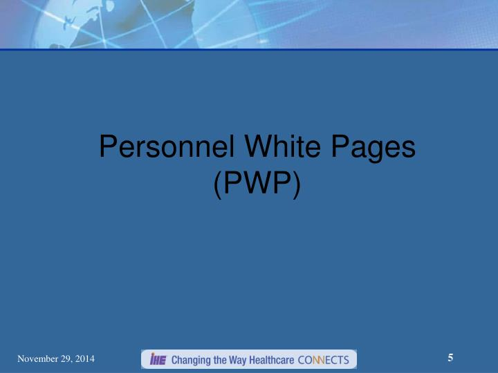 Personnel White Pages (PWP)