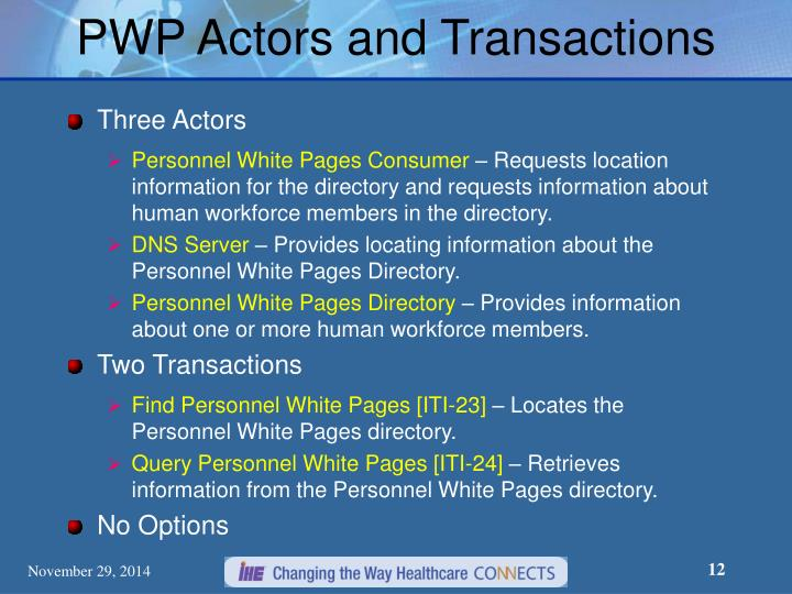 PWP Actors and Transactions