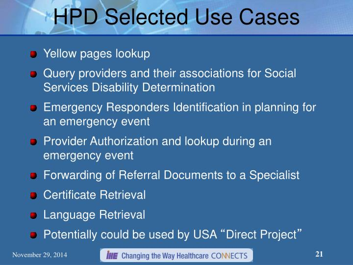 HPD Selected Use Cases