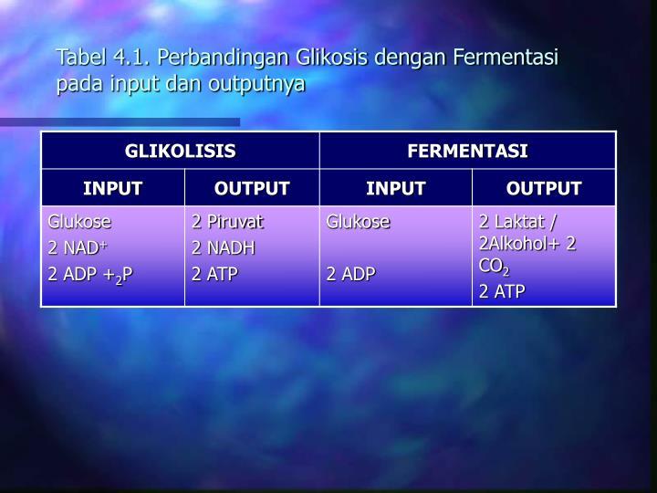 Tabel 4.1. Perbandingan Glikosis dengan Fermentasi pada input dan outputnya
