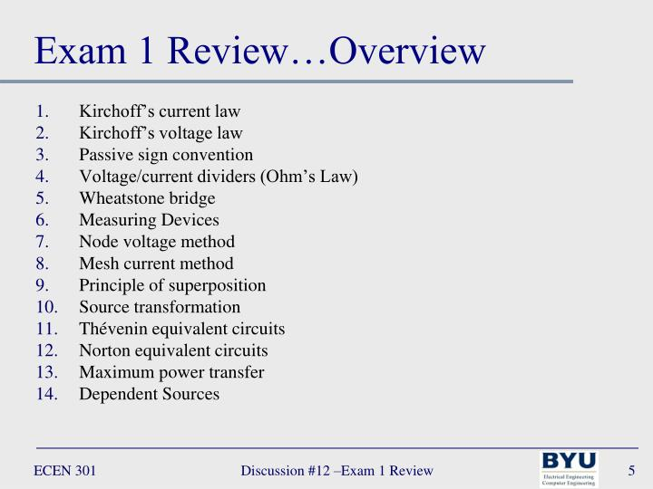 Exam 1 Review…Overview