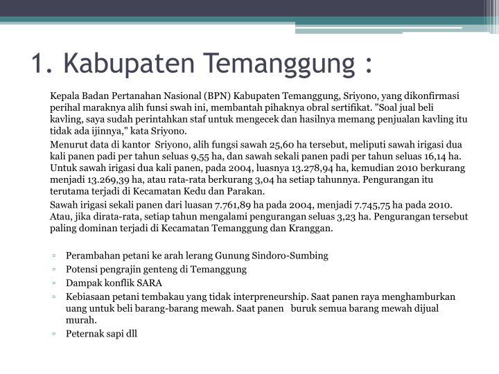 1. Kabupaten Temanggung :