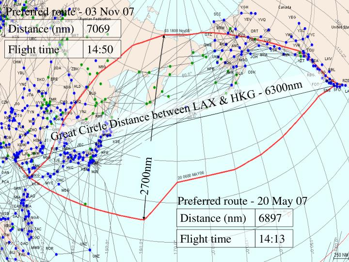 Great Circle Distance between LAX & HKG - 6300nm