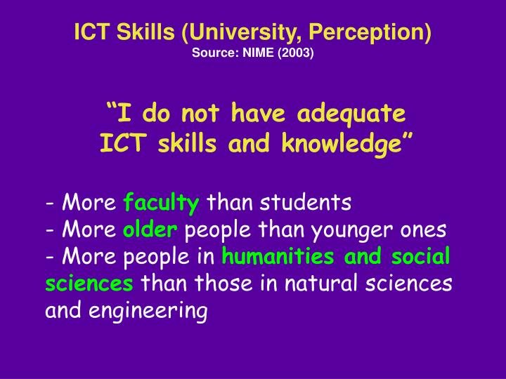 ICT Skills (University, Perception)