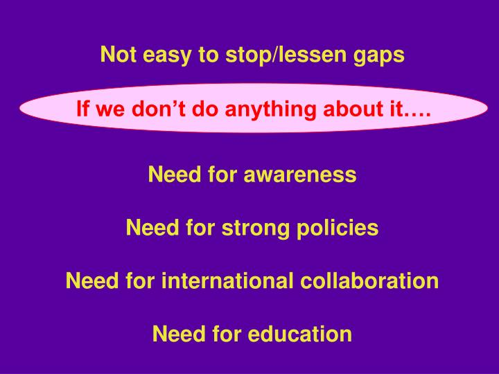 Not easy to stop/lessen gaps