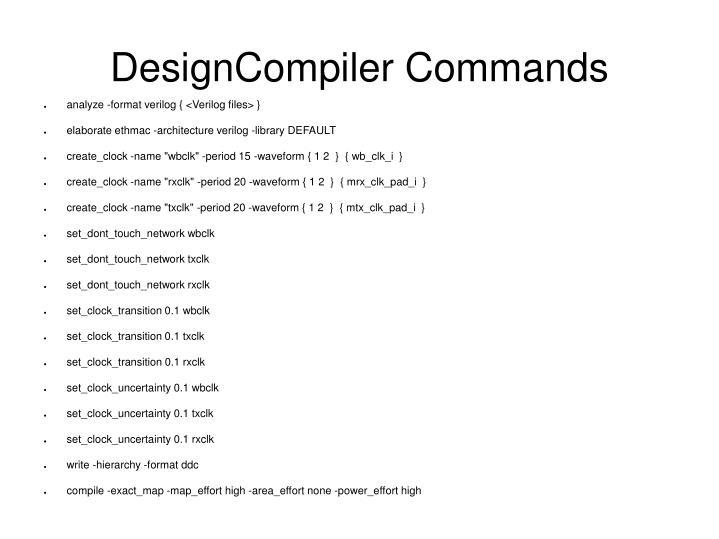 DesignCompiler Commands