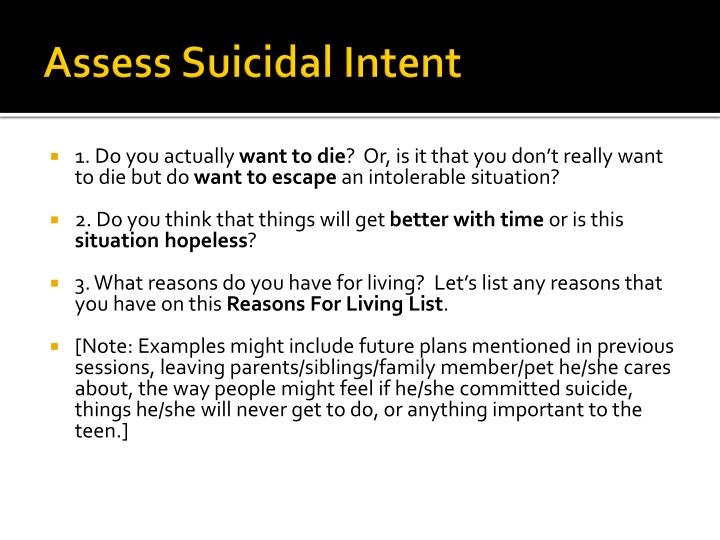 Assess Suicidal Intent