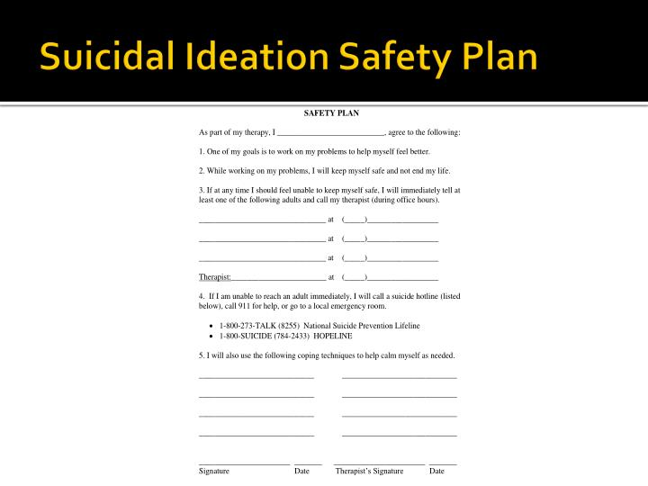 Suicidal Ideation Safety Plan