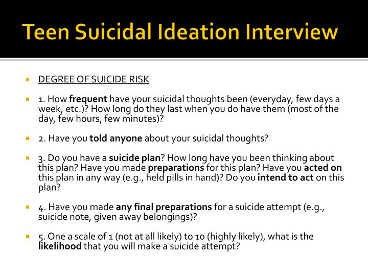Teen Suicidal Ideation Interview