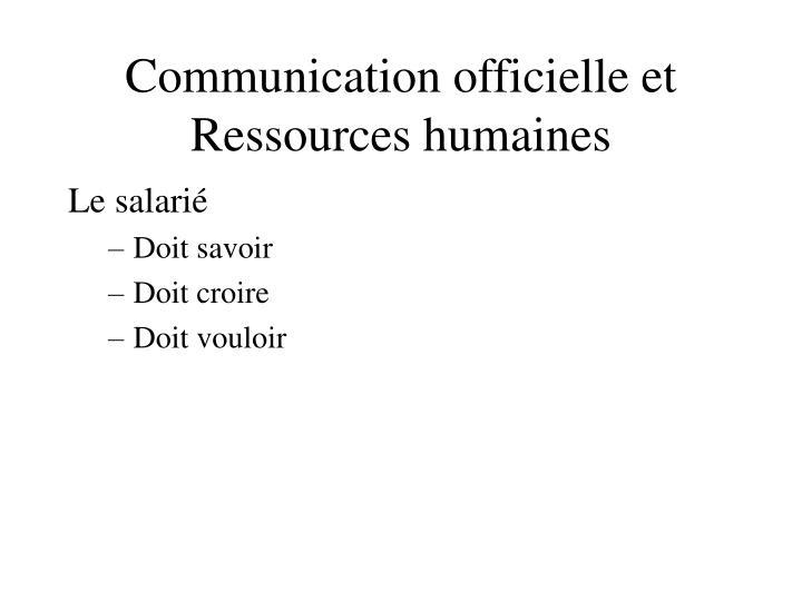 Communication officielle et Ressources humaines