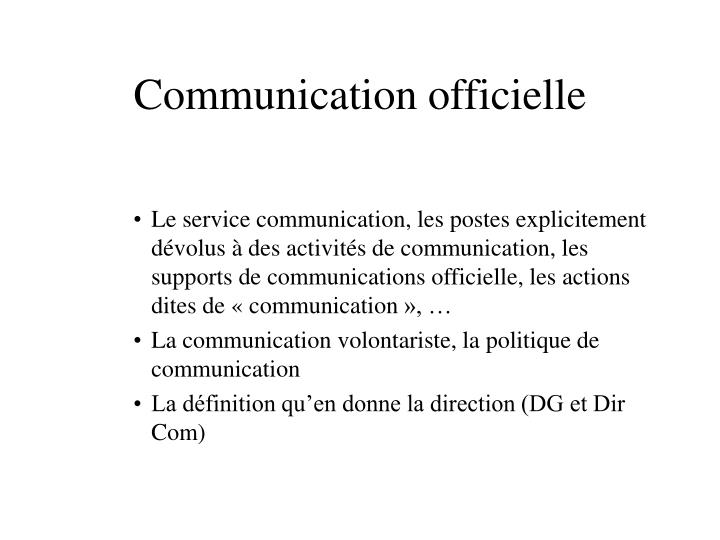 Communication officielle