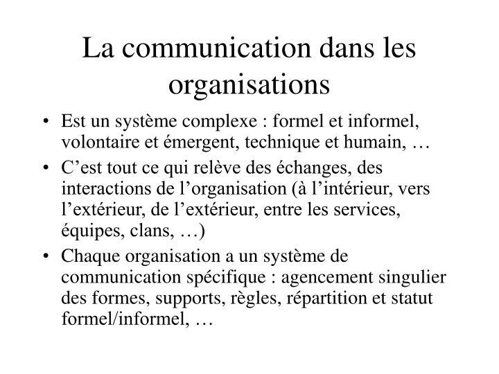 La communication dans les organisations