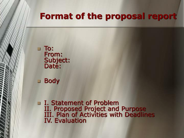 Format of the proposal report