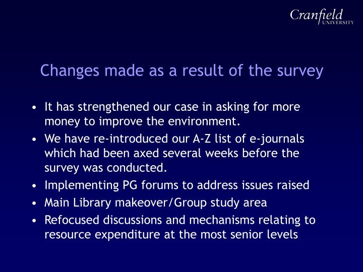 Changes made as a result of the survey