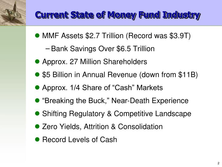 Current state of money fund industry