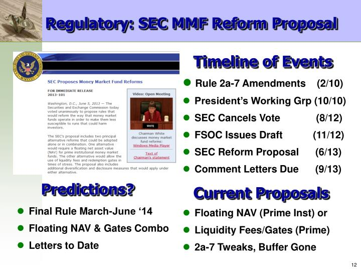 Regulatory: SEC MMF Reform Proposal