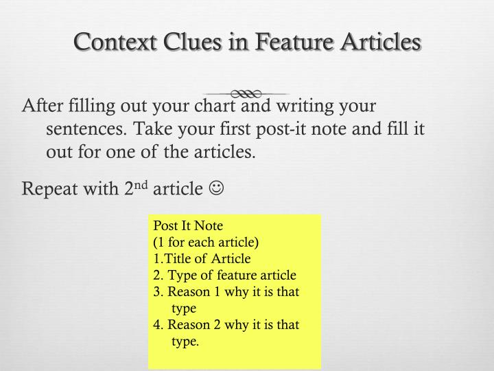Context Clues in Feature Articles
