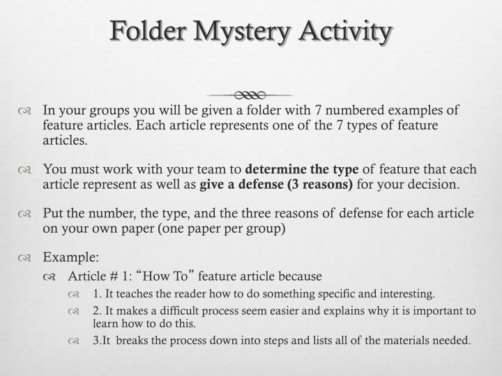 Folder Mystery Activity
