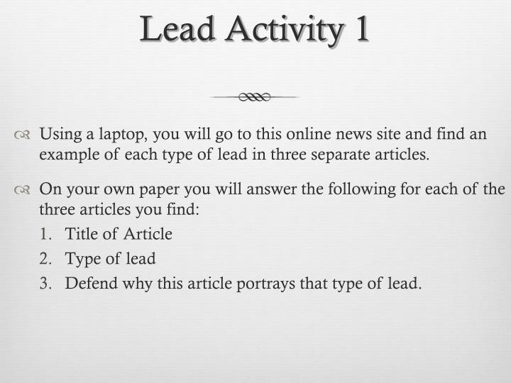 Lead Activity 1