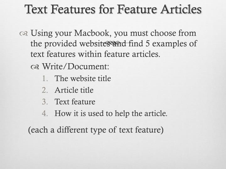 Text Features for Feature Articles