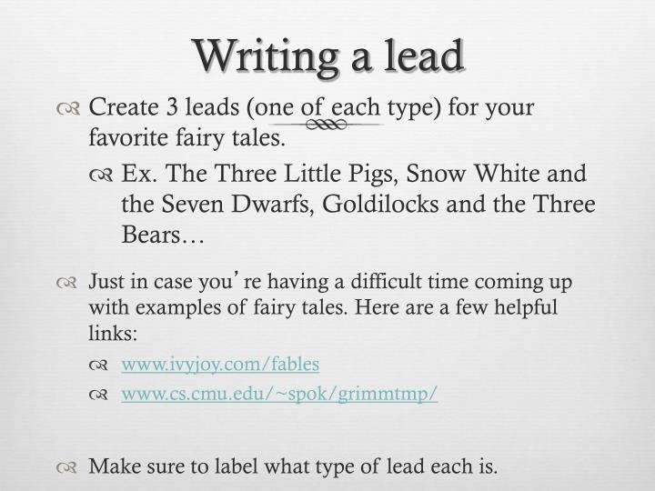 Writing a lead