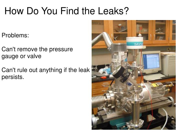 How Do You Find the Leaks?