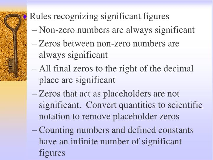 Rules recognizing significant figures