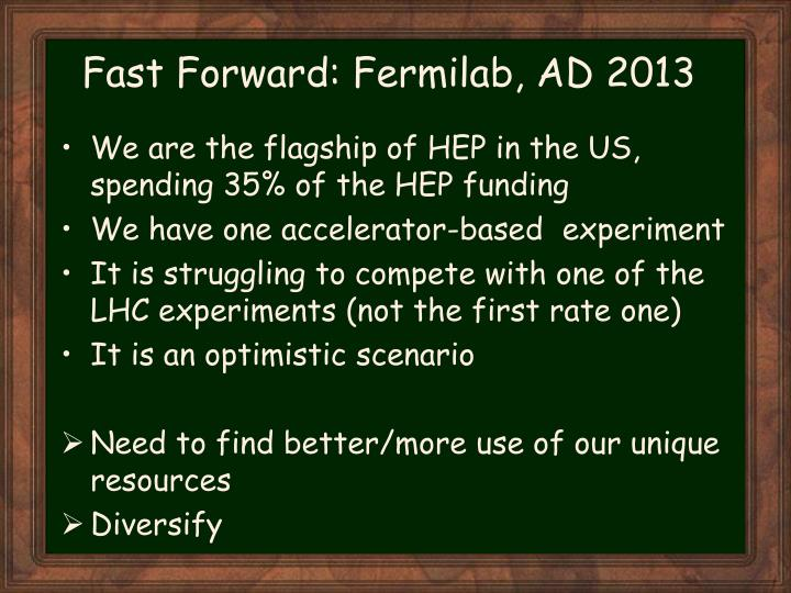 Fast Forward: Fermilab, AD 2013