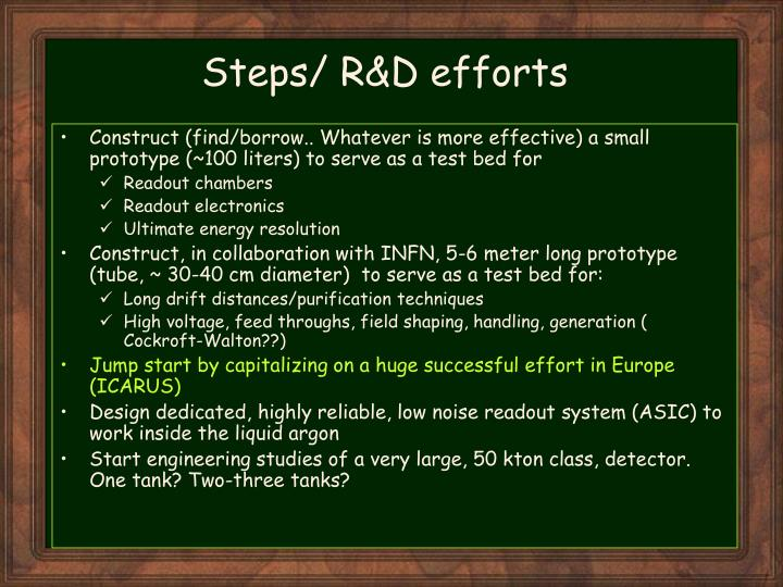 Steps/ R&D efforts