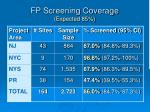fp screening coverage expected 85