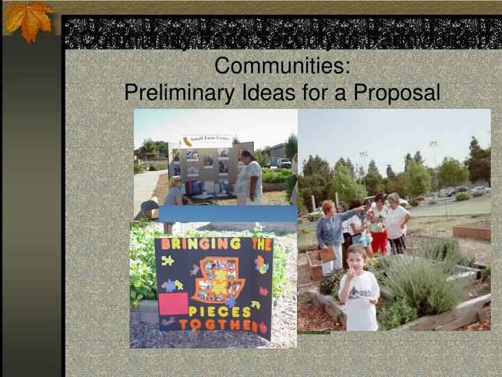 Community Food Security in Farmworker Communities: