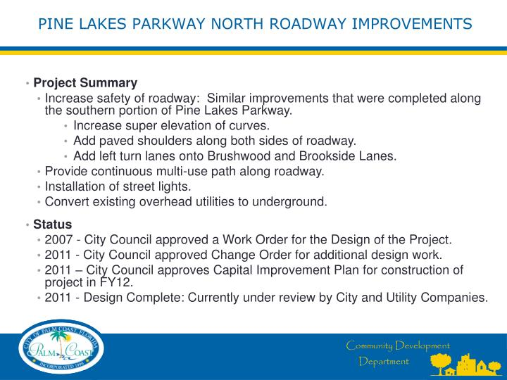 Pine lakes parkway north roadway improvements1