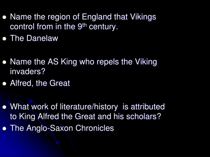 Name the region of England that Vikings control from in the 9