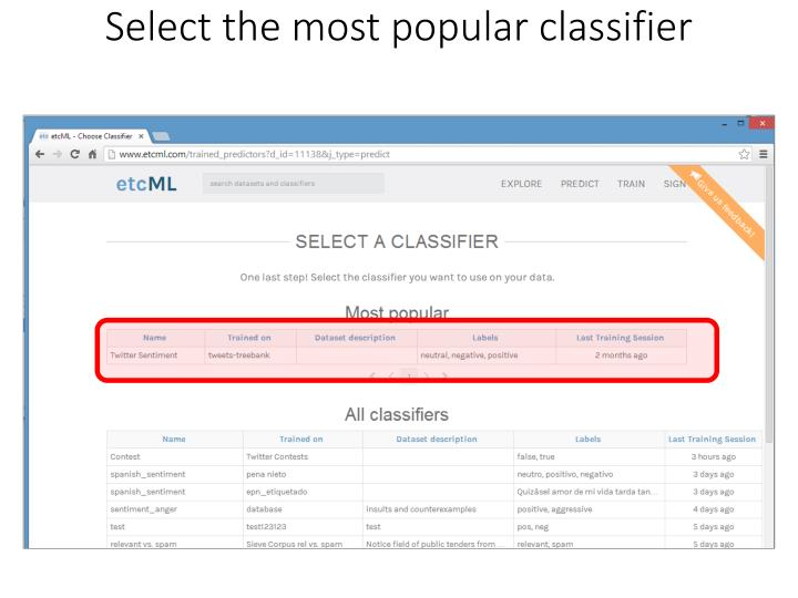 Select the most popular classifier