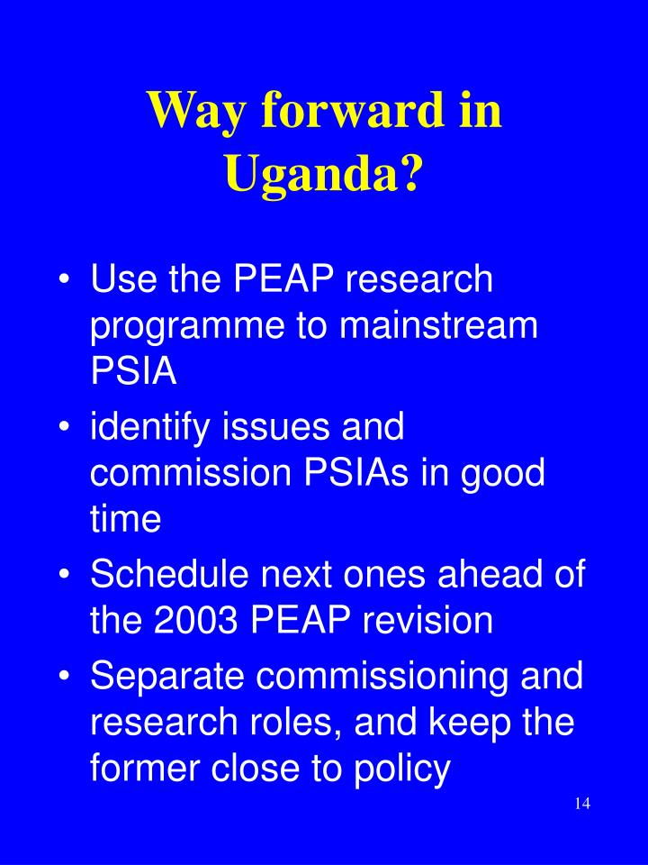 Way forward in Uganda?