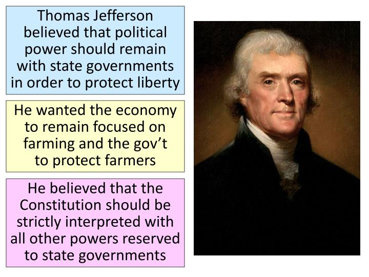 Thomas Jefferson believed that political power should remain with state governments in order to protect liberty