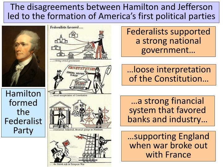 The disagreements between Hamilton and Jefferson led to the formation of America's first political parties