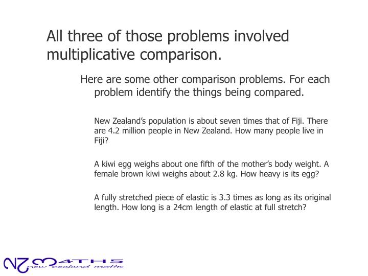All three of those problems involved multiplicative comparison.