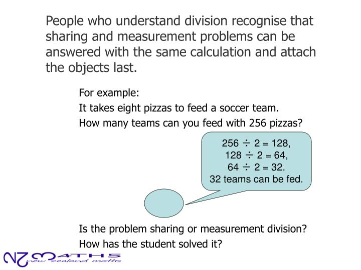 People who understand division recognise that sharing and measurement problems can be answered with the same calculation and attach the objects last.