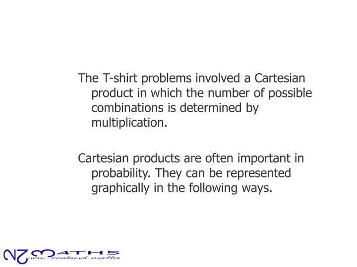 The T-shirt problems involved a Cartesian product in which the number of possible combinations is determined by multiplication.