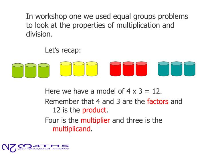 In workshop one we used equal groups problems to look at the properties of multiplication and divisi...