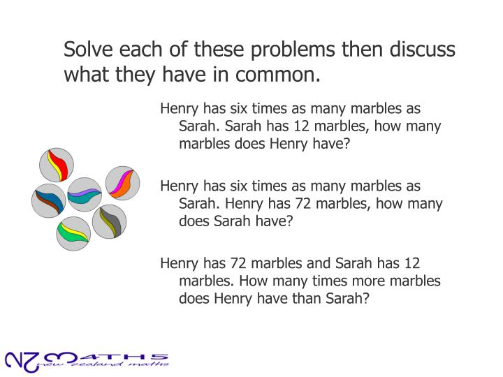 Solve each of these problems then discuss what they have in common.