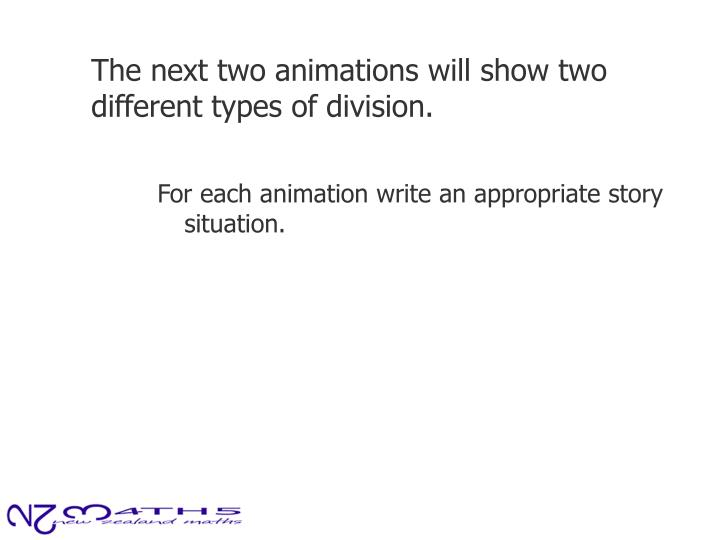 The next two animations will show two different types of division.