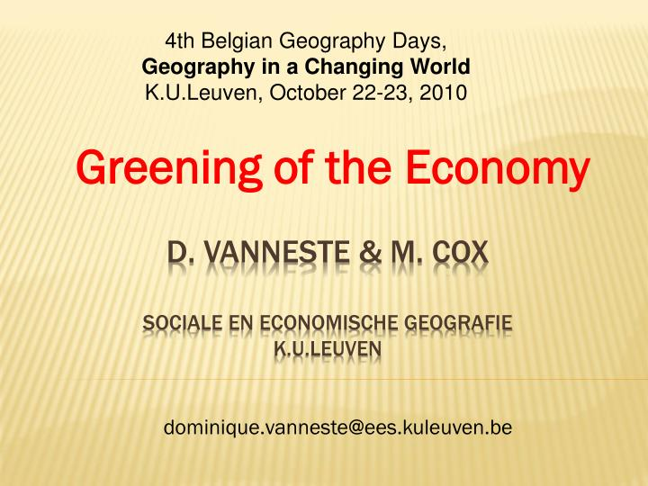 4th Belgian Geography Days,